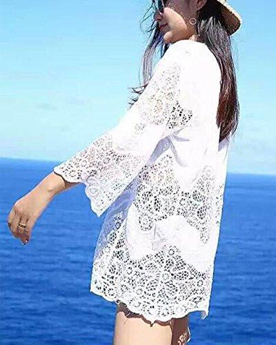 Damen weiß Strandponcho Sommer Überwurf Kaftan Strandkleid Bikini Cover Up Weiß