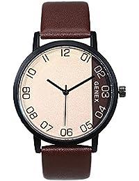 Genex Quartz Analog Beige Dial Mens Leather Strap Watch-GX-2302