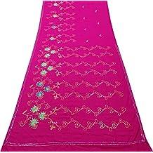 PEEGLI Indio Étnico Vintage Sari Rosado Mujer Envolver Georgette Mezcla Reciclado Tela Tradicional Vestir Vestido Bordado