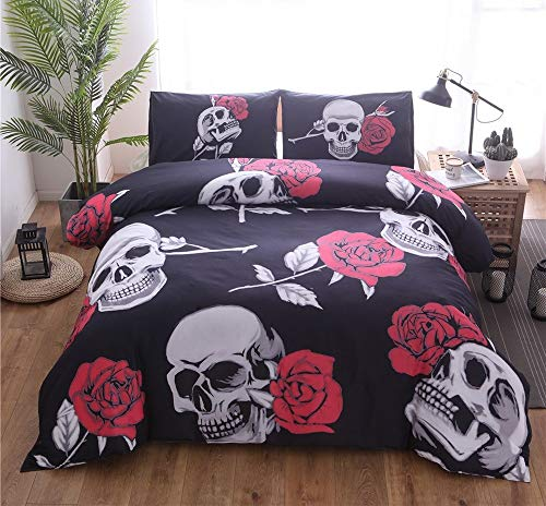 WNJ-bedding Bettdecken-Sets 2019, King/Double 3PCS 100 Cotton Skull Print Bettbezug mit Kissenbezug Rose 3D Quilt Bettbezug Bettwäsche-Sets Rose Floral Bettbezug-Set Gothic Bettwäsche Black Bed Set - Floral Black King Tröster