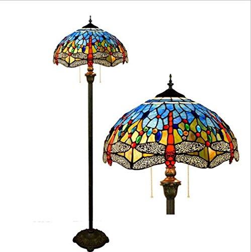 Libelle Stehleuchte Wohnzimmer Schlafzimmer Boden Uplighter Europäische pastorale Glasmalerei Studyroom Lesen Stehendes Licht, max 60W YDYG ()