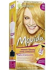 Garnier Tönung Movida Pflege-Creme, Intensiv-Tönung Haarfarbe 10 Goldblond (für leuchtende Farben, auch für graues Haar, ohne Ammoniak) 3er Pack Haarcoloration-Set