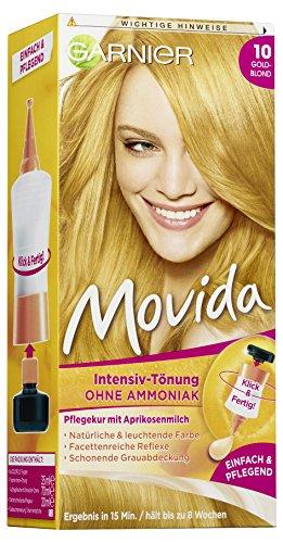 Garnier Tönung Movida Pflege-Creme / Intensiv-Tönung Haarfarbe 10 Goldblond (für leuchtende Farben, auch für graues Haar, ohne Ammoniak) 3er Pack Haarcoloration-Set - Blonde Abdeckung