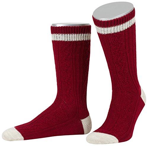 enstrümpfe Schoppersocke mit 2-Farbigem Rand, Rot (Bordeaux/Sand 2014), 42/43 (Rote Trachten Socken)