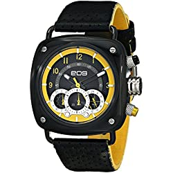 EOS New York Herren 173SBLKYEL Gauge Black Leather Strap Armbanduhr