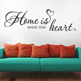 KLEBEHELD® Wandtattoo Home is where your heart is. - Größe 80x24cm, Farbe dunkelrot