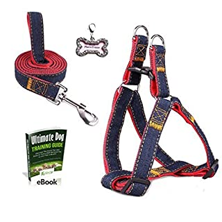 Olivery No-Pull Dog Leash Harness Set & FREE ID Tag, Adjustable Heavy Duty Denim Easy Step in Collar Set for Large/Medium/Small/Extra-Small Pet Training & Everyday Walking, Size S, Red