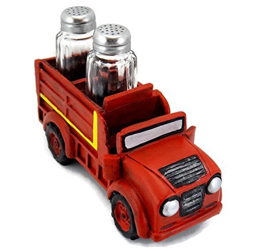 Red Fire Engine Salt & Pepper Shakers Table Set by IAC International Fire Salt Shaker