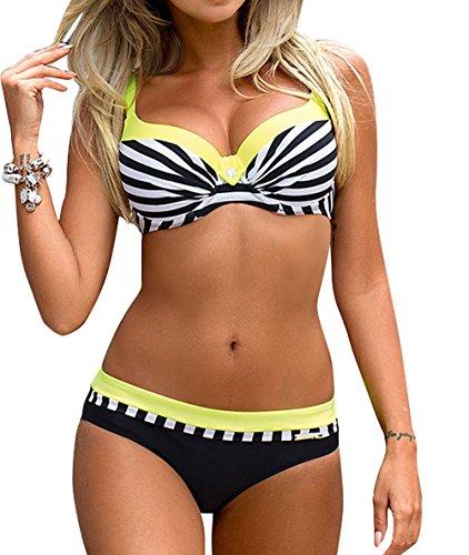 Sexy Mädchen Badeanzug (YaoDgFa Sexy Damen Bikini Bademode Badeanzüge Bikinis für Frauen Mädchen Bandeau Push up mit Bügel Neckholder Bandage Große Größen, EU S (Tag M), #01 Gelb)