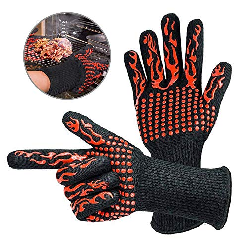 Hamkaw 1 Pair BBQ Gloves 1472°F/800°C Extreme Heat Resistant Non-Slip Grill Gloves Kitchen Cooking Gloves Oven Mitts Forearm Protector for BBQ, Cooking, Grilling, Baking