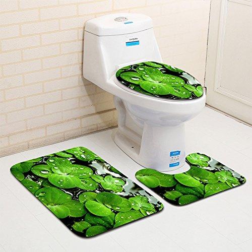 Fannie 3 Stück Badezimmer Matten Set Rutschfeste Sockel Teppich + Deckel WC Abdeckung + Badematte (farbige Blumenmuster), E, 50*80