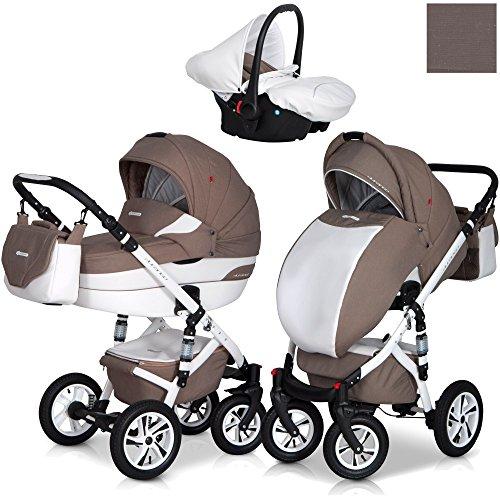 Eurocart DURANGO Latte 3in1 Kombikinderwagen Babywanne Buggy Autositz Babyschale 0-10 kg Alu und Leder Edition