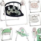Babyschaukel (vollautomatisch 230V) mit 5 Schaukelgeschwindigkeiten und 12 Melodien (SCHWARZ GRAU)