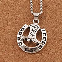Antique Silver Lucky Horseshoe With Cowboy Boot Pendant Necklaces 24 Inches Chains