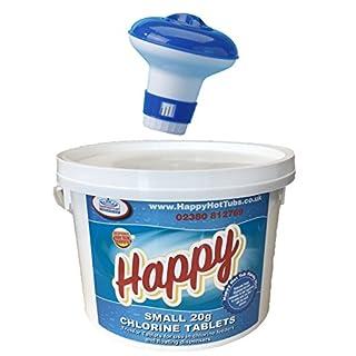 Happy Hot Tubs 2kg Chlorine Tablets 20g Tub + Free Dispenser