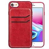 RZL Cases für iPhone 8 & 7 & 6, mit Holder & Card Slots & Wallet Einfache Leder Textur TPU Magnetic Ledertasche (Farbe : Rot)