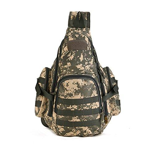 YAAGLE Outdoor Schultertasche groß Fassungsvermögen Fahrradrucksack Gepäck Reisetasche IPAD Brustbeutel 14 zoll Notebook Laptoptasche Herren Taschen Damen und Herren Unisex Tarnung 5