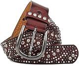 styleBREAKER Vintage Nietengürtel mit runden Nieten im Ornament Design, kürzbar, Damen 03010059, Farbe:Bordeaux-Rot;Größe:95cm