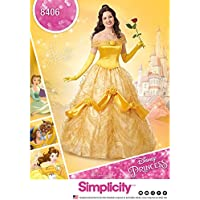 Simplicity patrón de Costura 8406 para Disfraz de Bella de La Bella y la Bestia, de Disney, para Mujer, Papel, Blanco, 22x 15x 1cm