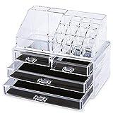 Display4top cosmetico dell' organizzatore di immagazzinaggio 4 cassetti in impermeabile Crystal, Make Up dell' organizzatore di immagazzinaggio cosmetici per bagno Desktop Student Heim (trasparente)
