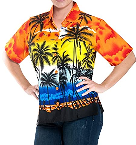 La Leela likre Orange Palme gedruckt Strand Hawaiihemd für Frauen XL