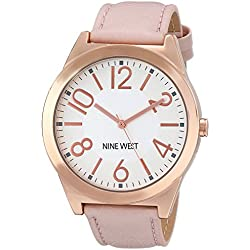 Nine West Women's Quartz Watch with White Dial Analogue Display and Pink PU Strap NW/1660SVPK