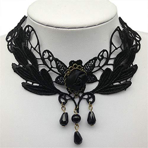 OOFAY Schwarz gehällte Spitzenkassette, Königin Victoria Rose Halskette verstellbare Pendelhalskette für Mädchen ()