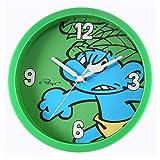 AC-Déco-Reloj de pared, diseño de Papá Pitufo de peluche 25 cm, color verde