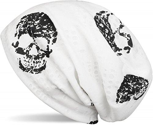 styleBREAKER Beanie Mütze mit Totenkopf Print im Destroyed Vintage Look, Slouch Longbeanie, Unisex 04024093, Farbe:Weiß