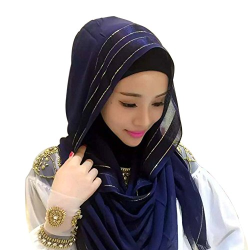 Hougood Hijab Kopftuch Muslim Hijab Schal für Damen Hijab Fertig Baumwolle Einfarbig Hijabs Schals Cape Schal Damen Wickel Hijab Arabien Islam Turban Hijab Kopfstück 185cm x 65cm