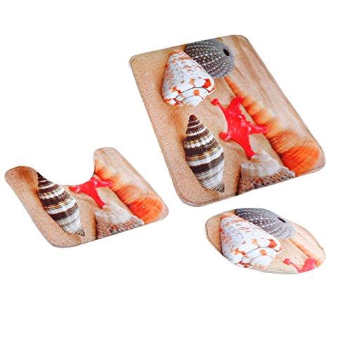 MagiDeal 3pcs Badematten Set Badezimmer Non-Slip Sockel Teppich + Deckel WC-Abdeckung + Badematte - Strand-Muschel, One Size (Strand Badezimmer Teppich Set)
