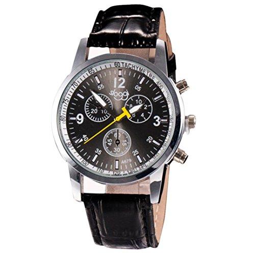 Sonnena Herren Armbanduhren,Luxus Business Krokodil Faux Lederband Analoge Quarz Uhr Herrenuhr Klassik Outdoor Handgelenk Uhr Casual Edelstahl Armbanduhr (Schwarz)