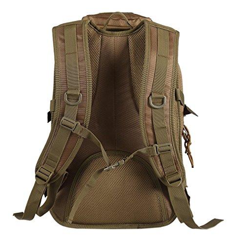Lalawow Militärrucksack taktischer Rucksack Tactical Assault 40L Wasserdicht Backpack MOLLE MultiCam Camo mit 2 Tactical Patch-Unterstützung 14 Zoll Laptop Khaki