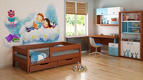 Jugendbett Kinderbett Funktionsbett Holz 160x80 2 Schubladen Lattenrost 4 Farben -