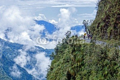 """'""""Road of Death Bolivia-Picture on canvas wall art canvas picture 30x 20cm - inexpensive UK light store."""