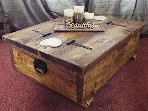 Couchtisch-Aufbewahrungsbox, Holzplanke, rustikale Decke, Truhe, für Spielzeug