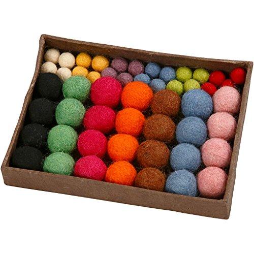 Palle di feltro, diam: 10+20 mm, colori