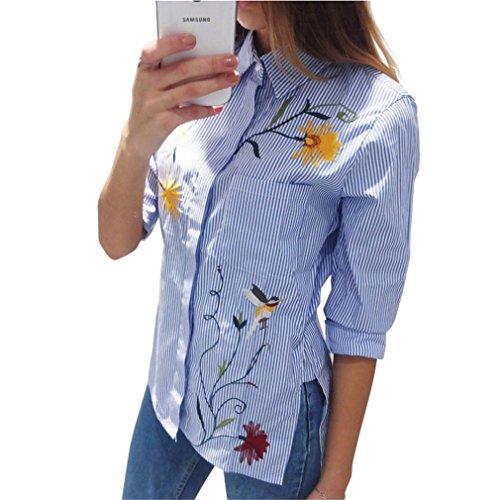 Jianyin Blau Gestreiften Shirt mit Stickerei Blume Langarm Bluse Chiffon Frühling Lange Hemden Frauen Kleidung (Gewebt Plaid Patchwork Shirt)