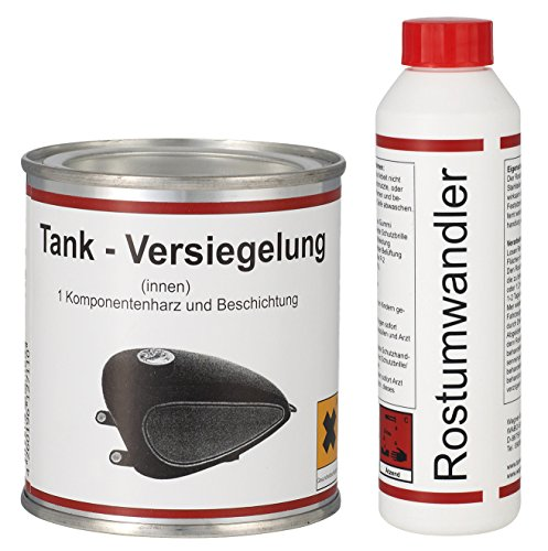 Preisvergleich Produktbild WAGNER SPEZIALSCHMIERSTOFFE Einkomponentenharz Tankversiegelung 250 ml & Rostumwandler Rostentferner Rostlöser 250 ml