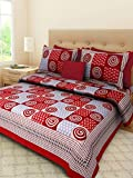 Palchin Creations King Size Pure Cotton Sanganeri Print Bedsheet with 2 Pillow - Red Colour ( 90 X 108 inches )