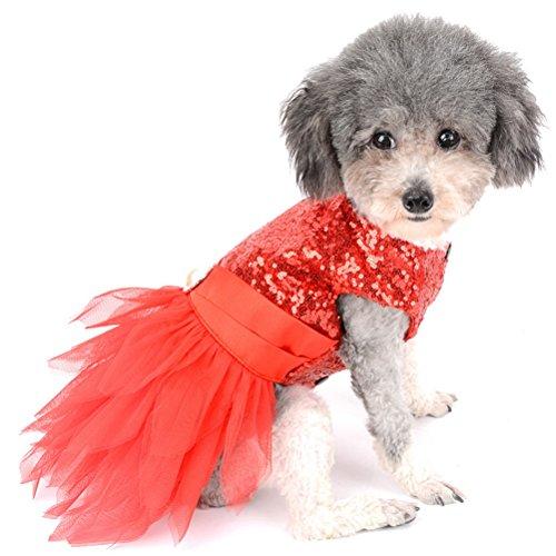 Zunea Party Kleid für kleine Hunde Pailletten Tutu Tüll Hund Kleidung Rock PET Kostüm Outfit für Puppy
