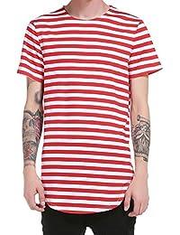 0576d3a386 Camiseta de Manga Corta para hombre Camisa de hombre Tops a rayas de manga  corta Camiseta