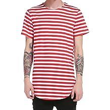 Camiseta de Manga Corta para hombre Camisa de hombre Tops a rayas de manga corta Camiseta casual Blusa LMMVP (Rojo, M)