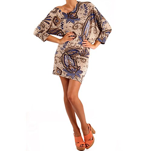 Damen Minikleid Asymmetrisch Bedruckt Beige