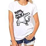 Bekleidung Tops Loveso Sommerkleider Damen Mode Nettes Kühles Einhorn Unicorn Muster Kurzschluss Weiß Baumwolle T-Shirt Top Bluse (Langarm Einschließen) ((Größe):40 (XL), Weiß (Katz Kurzarm))