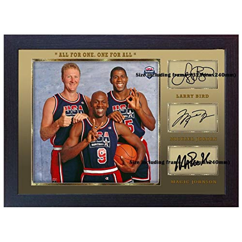 SGH SERVICES New gerahmtes Autogramm Michael Jordan Larry Bird Magic Johnson Basketball Memorabilia NBA Autogramm Foto Druck gerahmt MDF Rahmen Fotodruck #4