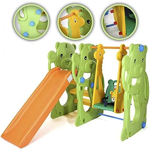 BABY VIVO Scivolo per Bambini Altalena Giardino Esterni Interno Dondolo Parco da Plastica Struttura per Arrampicarsi con scivolo - Jungle