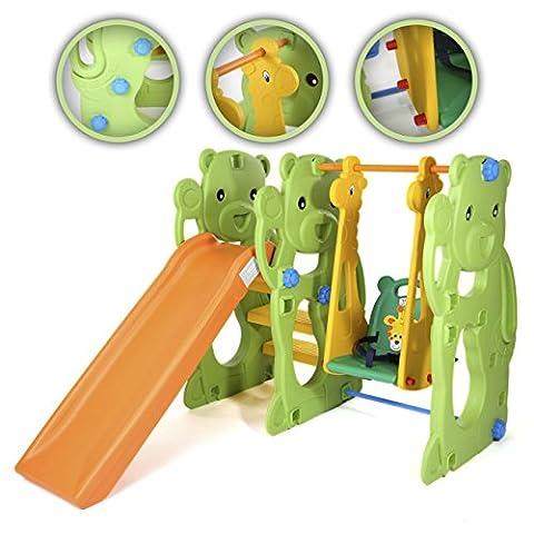 BABY VIVO Toboggan Aire de jeux Balançoire pour Enfants Échelle Extérieur et à l'Intérieur Jardin - Jungle