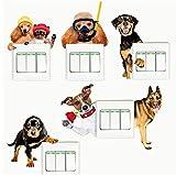 PANDABOOM Katze Hund 3D Ansicht Simulation Wandaufkleber Novel Schalter Aufkleber Kinderzimmer Dekoration Schalter Panel Aufkleber