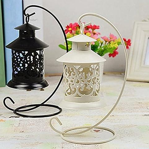 heartogether Retro Europea hierro hueca candelabro farol portavelas para bodas Decoración del